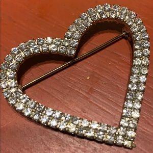 "🍧Vintage Crystal Large Heart 2""x2"""